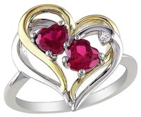 White And Yellow Silver Ruby Diamond Two-tone Double Heart Love Ring 15 Ct