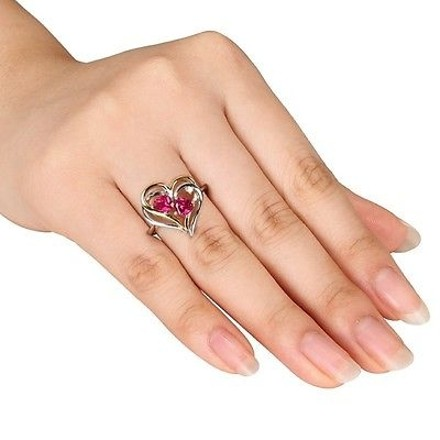 Other White And Yellow Silver Ruby Diamond Two-tone Double Heart Love Ring 15 Ct