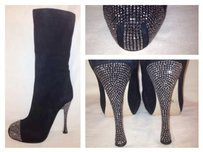 Other Paolo Conte Russian Runway Knee High Rhinestone Heel Toe Black Boots