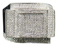 Diamond Square Fashion Pinky Ring Mens 10k White Gold Round Pave 0.92 Tcw.