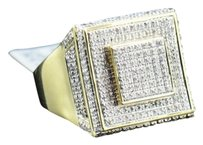 Diamond Square Face Pinky Ring Mens 10k Yellow Gold Round Pave Design 0.80 Tcw.