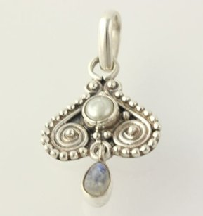 Feshwater Pearl Moonstone Drop Pendant - Sterling Silver 925 Swirl Accents