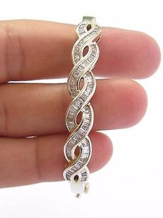 Fine 14kt Baguette Cut Diamond Invisible Setting Bangle Bracelet Yg 2.32ct