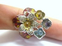 Fine 18kt Multi Gem Sapphire Diamond Jewelry Ring