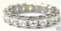 Fine Asscher Cut Diamond Eternity Ring 3.45ct Wg Sz8