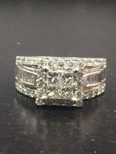 Fine Baguette Princess Round Cut Diamond White Gold Invisible Set Ring 2.00ct