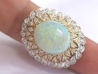 Other Fine Big Opal Diamond Solitaire With Accent Yellow Gold Jewelry Ring 14kt 9.36ct