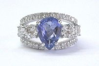 Fine Gem Tanzanite Diamond Wide White Gold Jewelry Ring 14kt 4.86ct