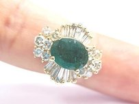 Fine Green Emerald Multi Shape Diamond Yellow Gold Anniversary Ring 4.14ct 14kt