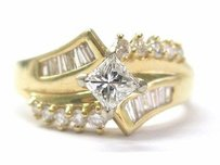 Fine Multi Shape Diamond Engagement Jewelry Ring Yg 14kt .77ct