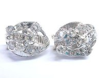 Fine Old European Round Cut Diamond Milgrain White Gold Earrings 14kt 3.00ct