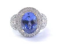 Fine Oval Gem Tanzanite Diamond White Gold Jewelry Ring 14kt 5.69ct