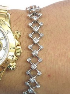 Fine Princess Round Cut Diamond White Gold Tennis Bracelet 10.4mm 7 2.04ct