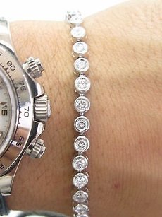 Fine Round Brilliant Cut Diamond Wg Bezel Set Tennis Bracelet 38-stones 3.00ct