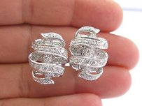 Fine Round Cut Diamond Pave Wrap Around White Gold Earrings 34 2.00ct