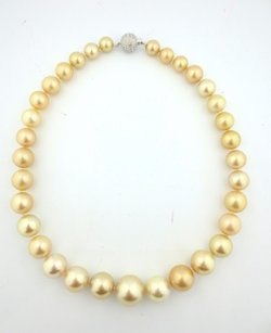 Fine South Sea Pearl Diamond Sapphire White Gold Necklace 22 10-16.5mm