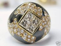 Fine 18kt Enamel Diamond Designer Jewelry Ring 2.34ct