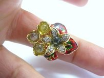 Fine 18kt Multi Gem Sapphire Diamond Jewelry Ring Yg