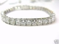 Fine 21.63ct Princess Cut Diamond Tennis Bracelet 18kt