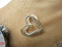 Fine Double Heart Diamond Pendant Necklace 14kt