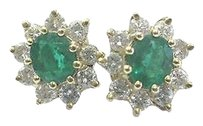 Fine,Gem,Green,Emerald,Diamond,Yellow,Gold,Stud,Earrings,14kt,1.52ct