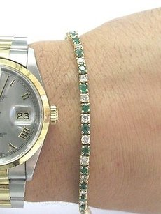 Fine Gem Green Emerald Diamond Yellow Gold Tennis Bracelet 7 3.20ct