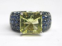 Fine Green Tourmaline Gem Sapphire Jewelry Ring 7.56ct