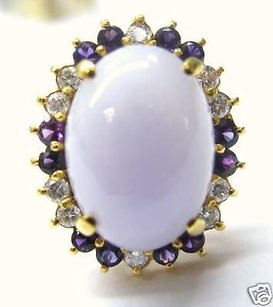 Other Fine Lavender Jade Amethyst Diamond Jewelry Ring 14kt