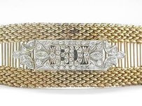 Fine Vintage Bd Diamond Yellow Gold Bracelet 22mm Wide .65ct