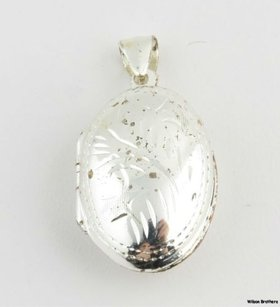 Floral Oval Locket Pendant - Sterling Silver 925 Womens Fashion Estate