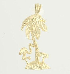 Florida Palm Tree Souvenir Pendant - 14k Yellow Gold Flamingo Womens Tropical
