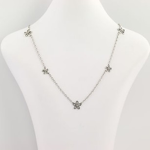 Other Flower Blossom Necklace - Sterling Silver 18k Gold Diamond-accented .10ctw