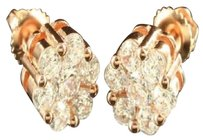 Other Flower Earrings Cluster Design 14k Rose Gold Finish Simulated Cubic Zircons Mm