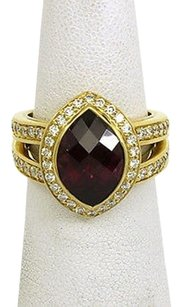Fred Co. 18k Yellow Gold 5.75 Diamond Garnet Solitaire Waccent Ring