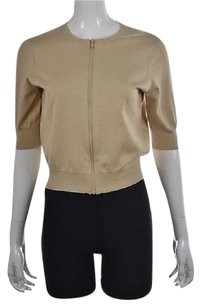 Other Womens Full Zip 34 Sleeve Silk Casual Thin Knit Sweater