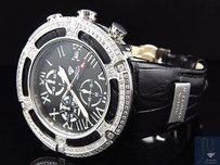 Fully Loaded 5.35 Ct Mens Aqua Master El Russo W346 Black Real Diamond Watch