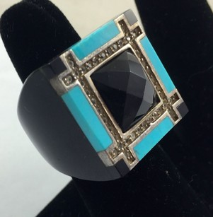 G Black Resin W Turquoise And .925 Sterling Trim Ring