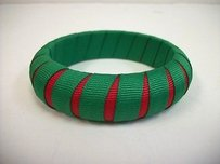 Other Gameday Bangles Green Red Peek-a-boo Grosgrain Ribbon Narrow Bracelet 34