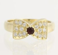 Other Garnet Cubic Zirconia Bow Ring - 14k Yellow Gold January - 14 Fashion Cz
