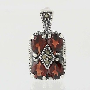 Garnet Marcasite Pendant - Sterling Silver January Birthstone 4.00ctw