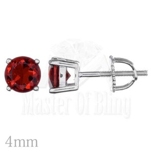 Other Garnet Red Round Screw On 1ct Cubic Zirconia Silver White Finish Earrings Studs