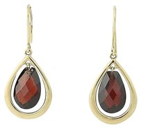 Garnet Teardrop Earrings - 10k Yellow Gold Pierced Dangle Womens 7ctw