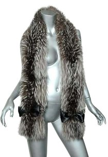 Genuine Fox Fur Stole Dazzling Long Silverwhite Tipped Wrap Black Satin Bows