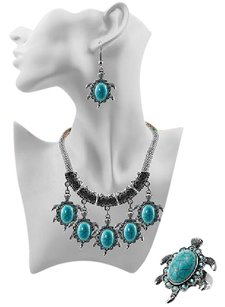 Other Genuine Turquoise Tortoise Pendant Necklace, Earrings, Ring Set #6179