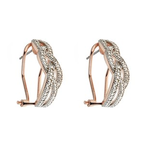 Other Genuine White Diamond Hoop Earring in Rose Gold #4281