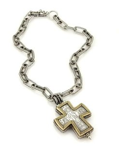 Gerochristo Sterling Gold Medieval Byzantine Locket Cross Pendant Chain