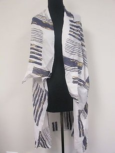 Gideon Oberson Silk White Blue W Gold Accents Bathing Suit Coverall Os J317