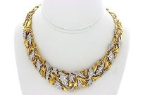 Gilbert Albert 18k Yellow Gold Diamond Ct Statement Necklace