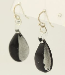 Glass Tear Drop Earrings - Sterling Silver Black Silver Hook Posts Talana