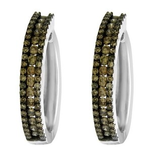 Other Glk 14k White Gold 1.28ct Brown Diamond Hoop Earrings